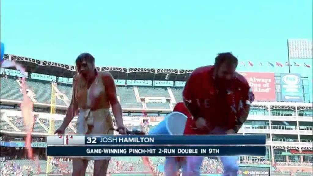 Josh Hamilton & Rangers reporter Emily Jones get drenched in Gatorade