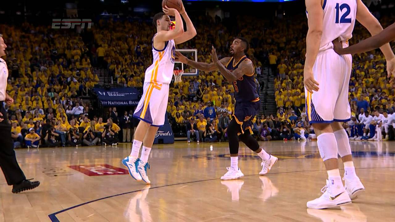 Klay Thompson buries the 3-pointer while fouled