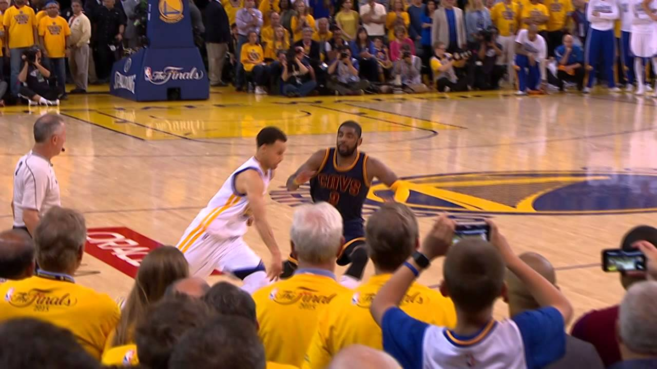 Kyrie Irving with a possible game saving block on Steph Curry