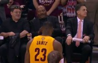 LeBron James pays tribute to the legendary Jim Brown pre-game