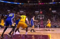LeBron James with an impressive no look pass to Mozgov for the dunk