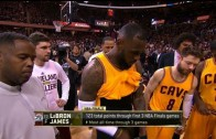 LeBron James wardrobe malfunction during Game 4 of the NBA Finals