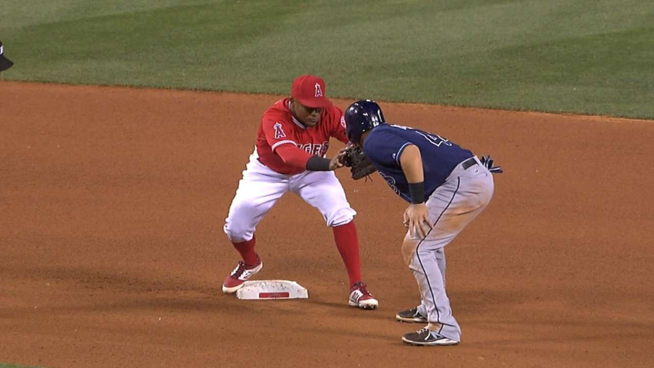 Rene Rivera's slide into second comes up a little short