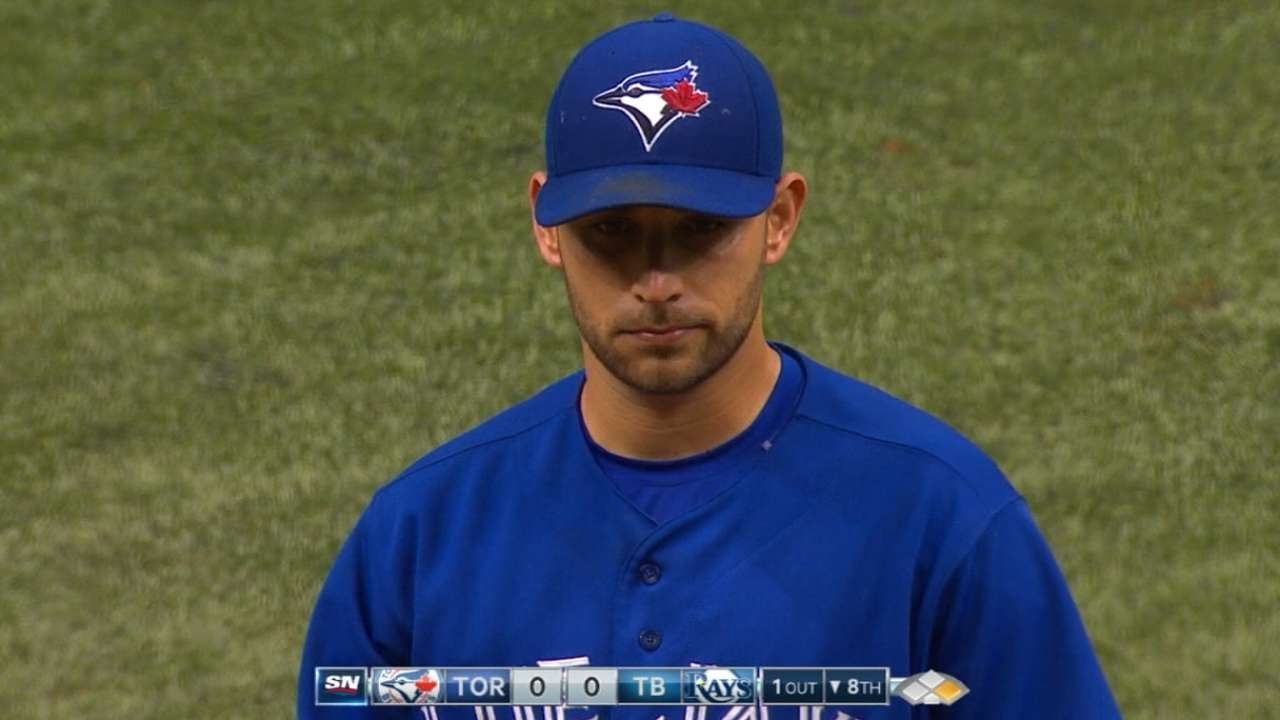 Marco Estrada loses perfect game in 8th inning on an infield single!