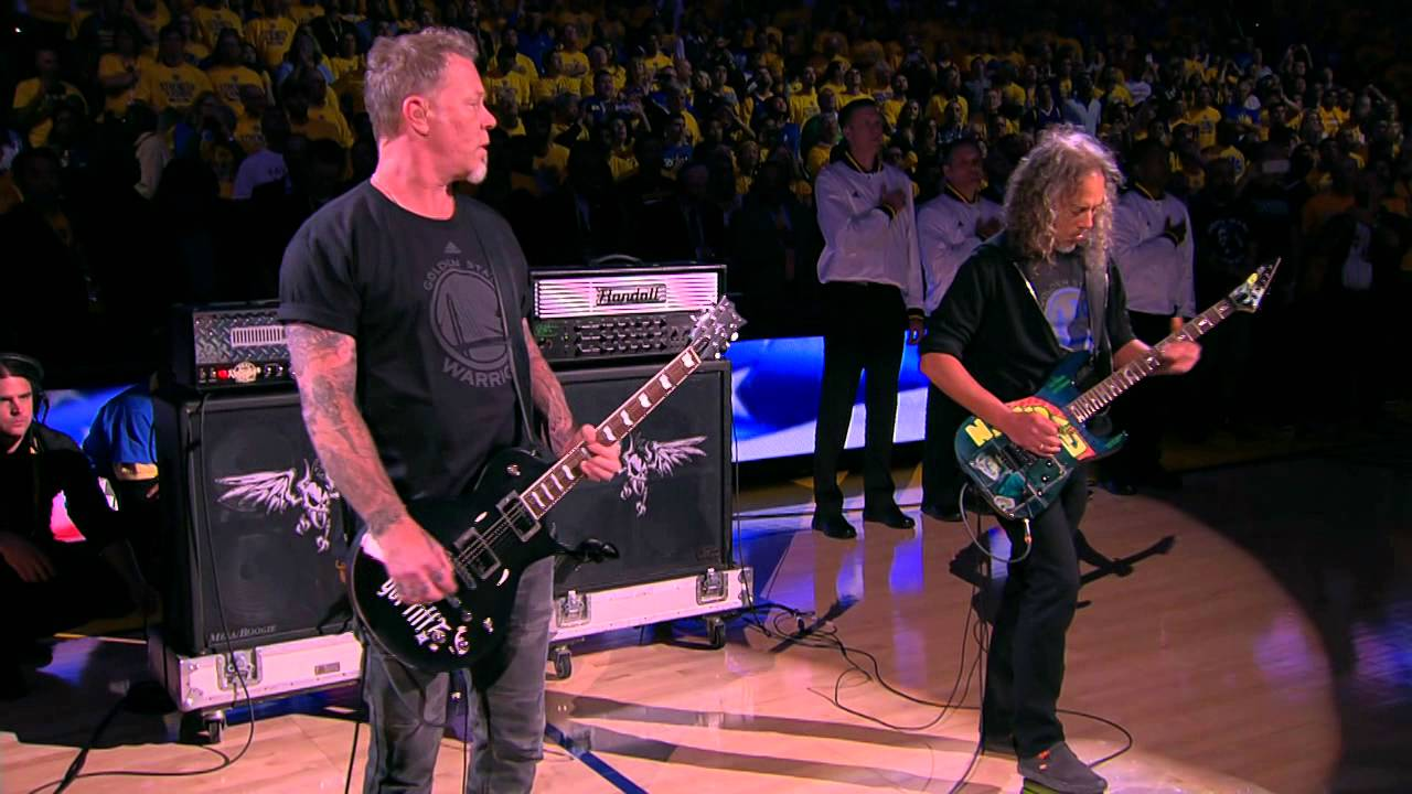 Metallica performs the National Anthem before Game 5 of the NBA Finals