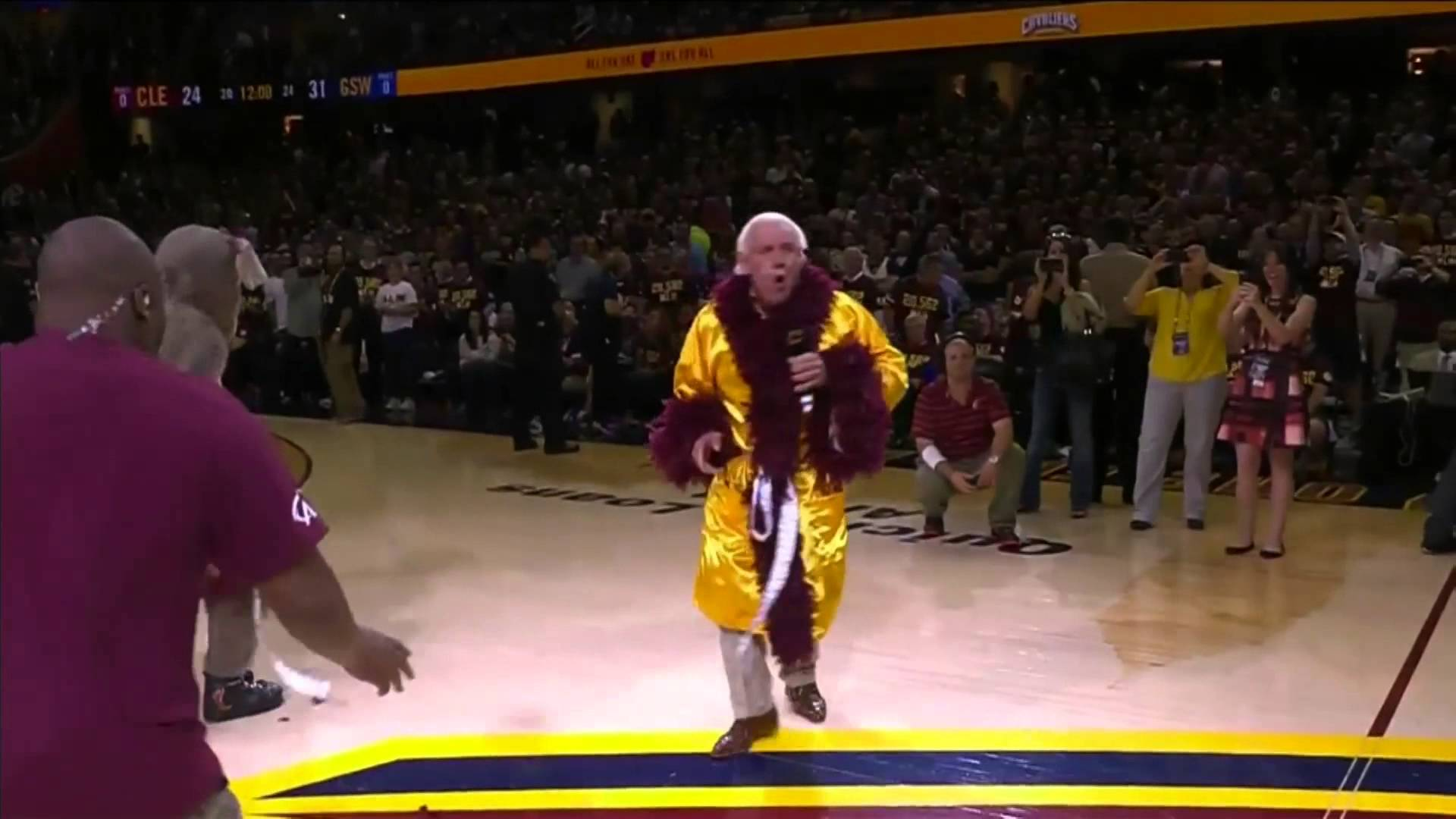 Ric Flair fires up the Cleveland crowd for Game 4 of the NBA Finals
