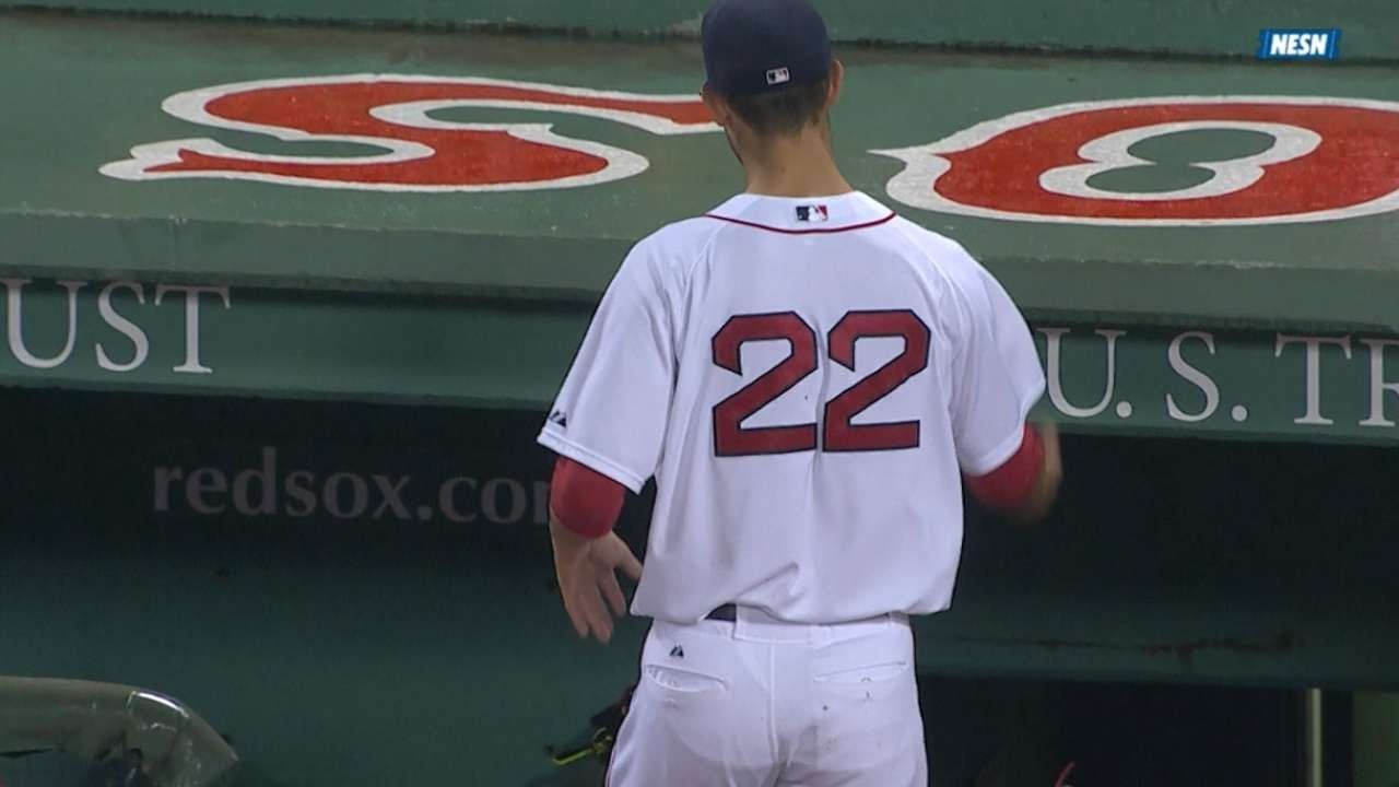 Rick Porcello tosses his glove into the stands in disgust