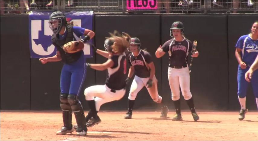 Women's high school softball catcher levels players with her elbow