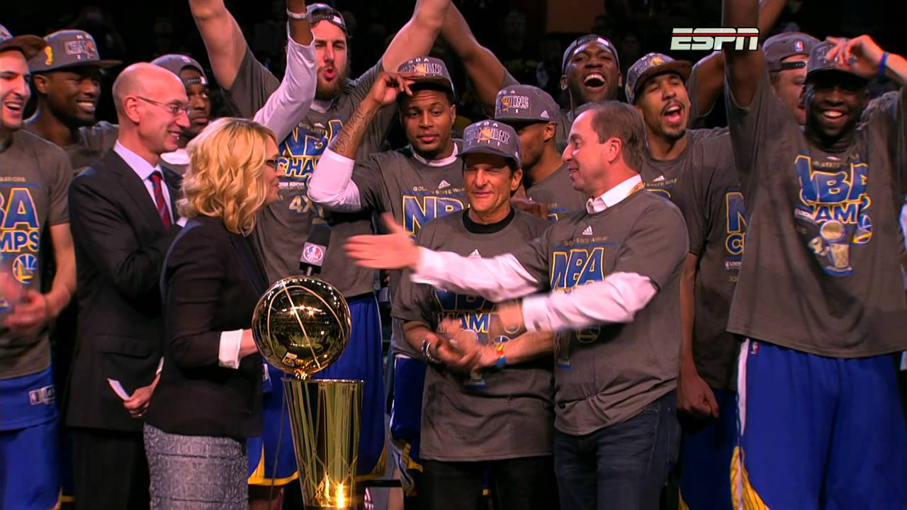 The Golden State Warriors receive the 2015 Championship Trophy