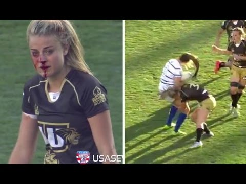 Women's rugby player Georgia Page breaks her nose but finishes her tackles