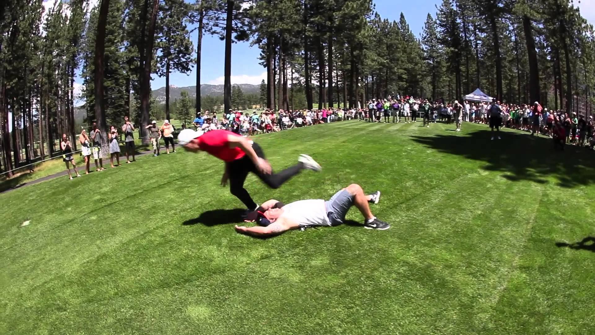 AJ Hawk destroys a patron on the golf course with a massive tackle