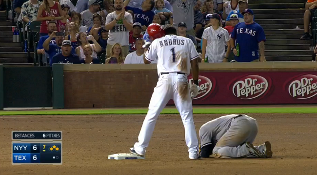 Ball Shot: Elvis Andrus hits Didi Gregorius right in the groin on slide
