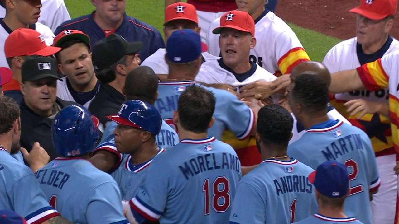 Back The F*ck Up: Benches clear between Rangers & Astros!