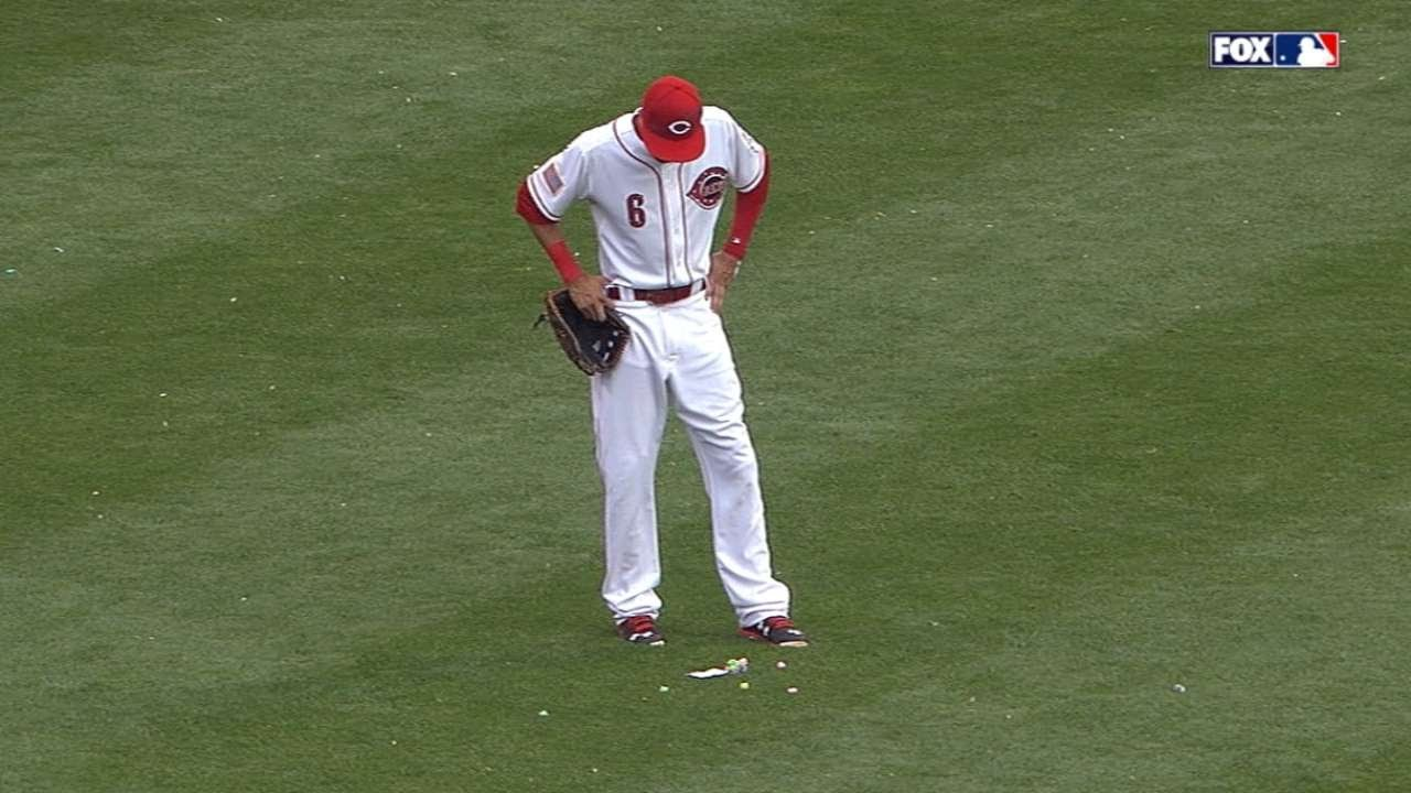 Carlos Gomez leaves a message & gum supply for Billy Hamilton in center field
