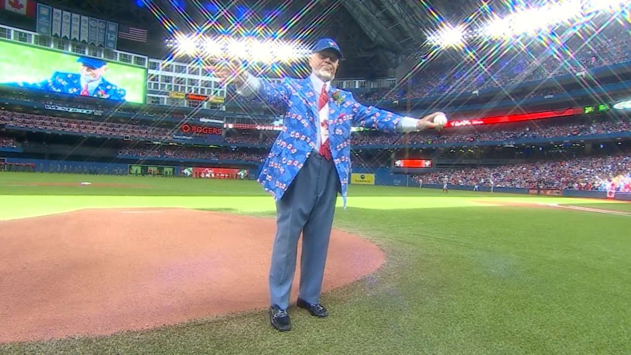 Don Cherry throws out the first pitch to Josh Donaldson