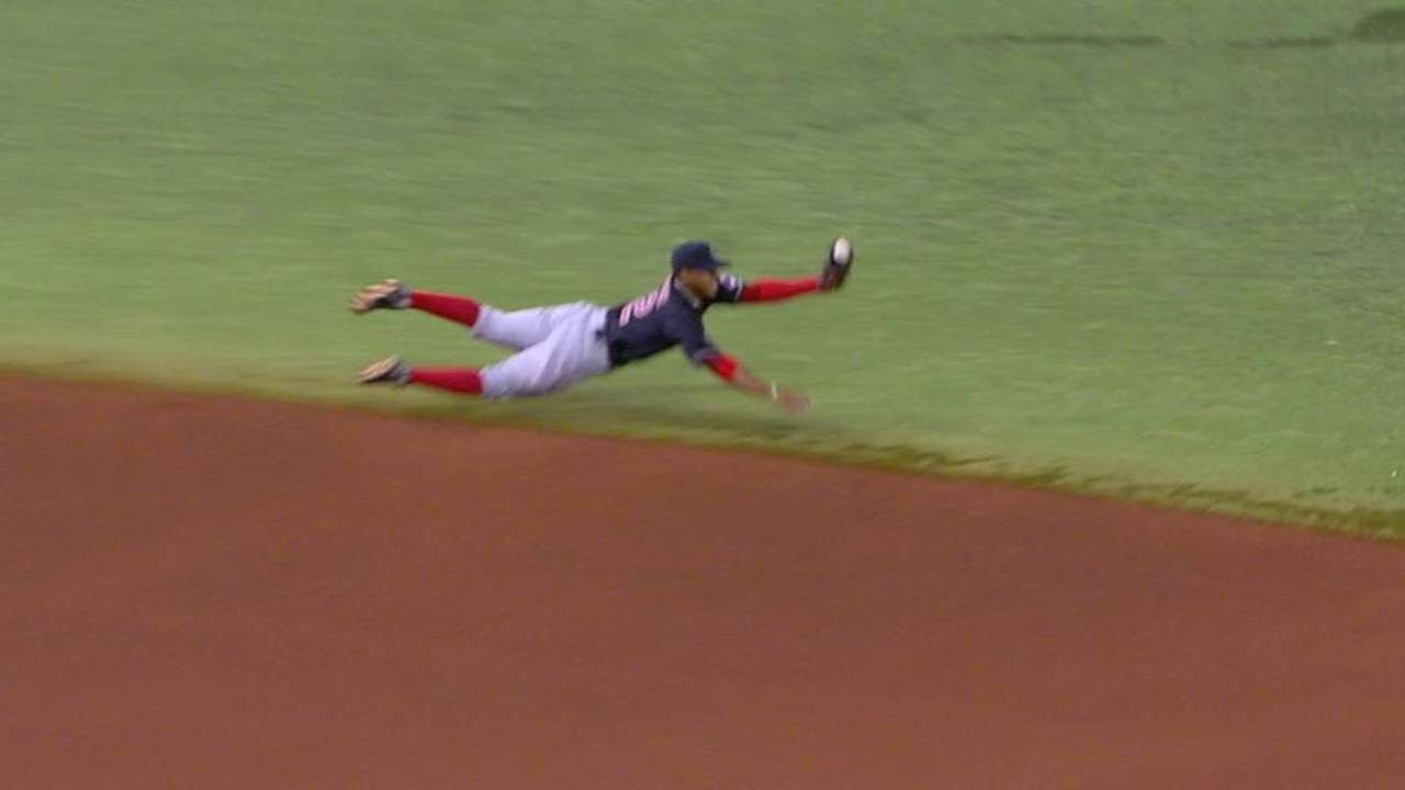 Indians prospect Francisco Lindor lays out to rob Longo with great play
