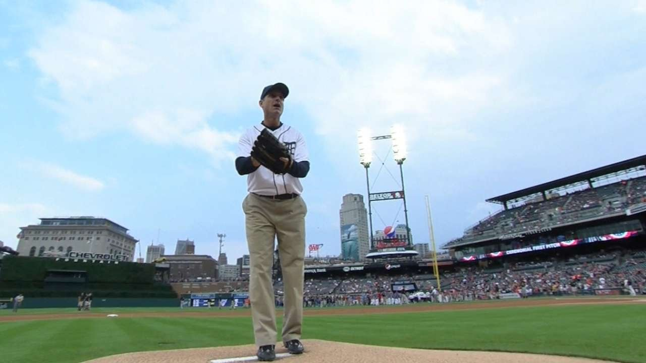 Jim Harbaugh throws out first pitch in Detroit