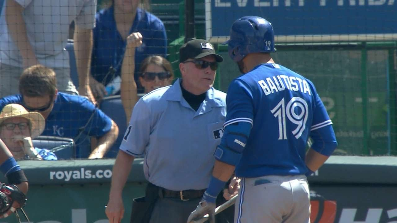 Jose Bautista tossed for arguing balls and strikes