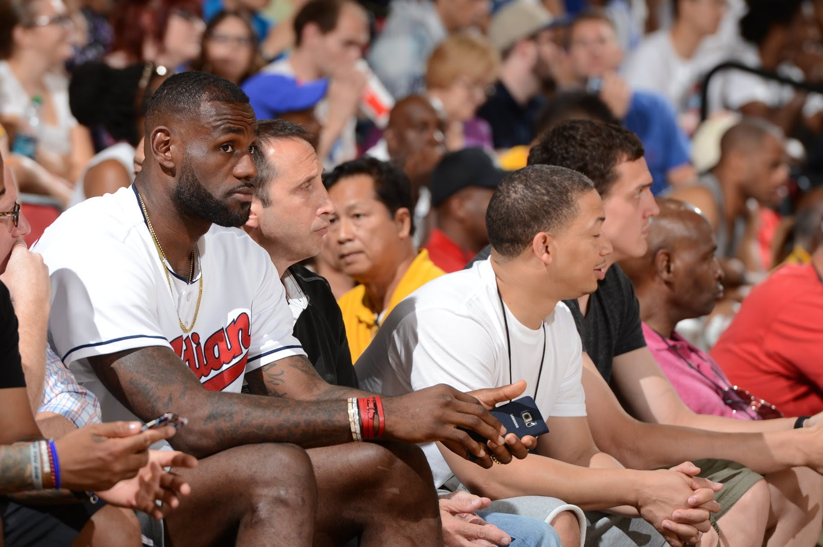 LeBron James hits a seated sideline shot in Summer League!
