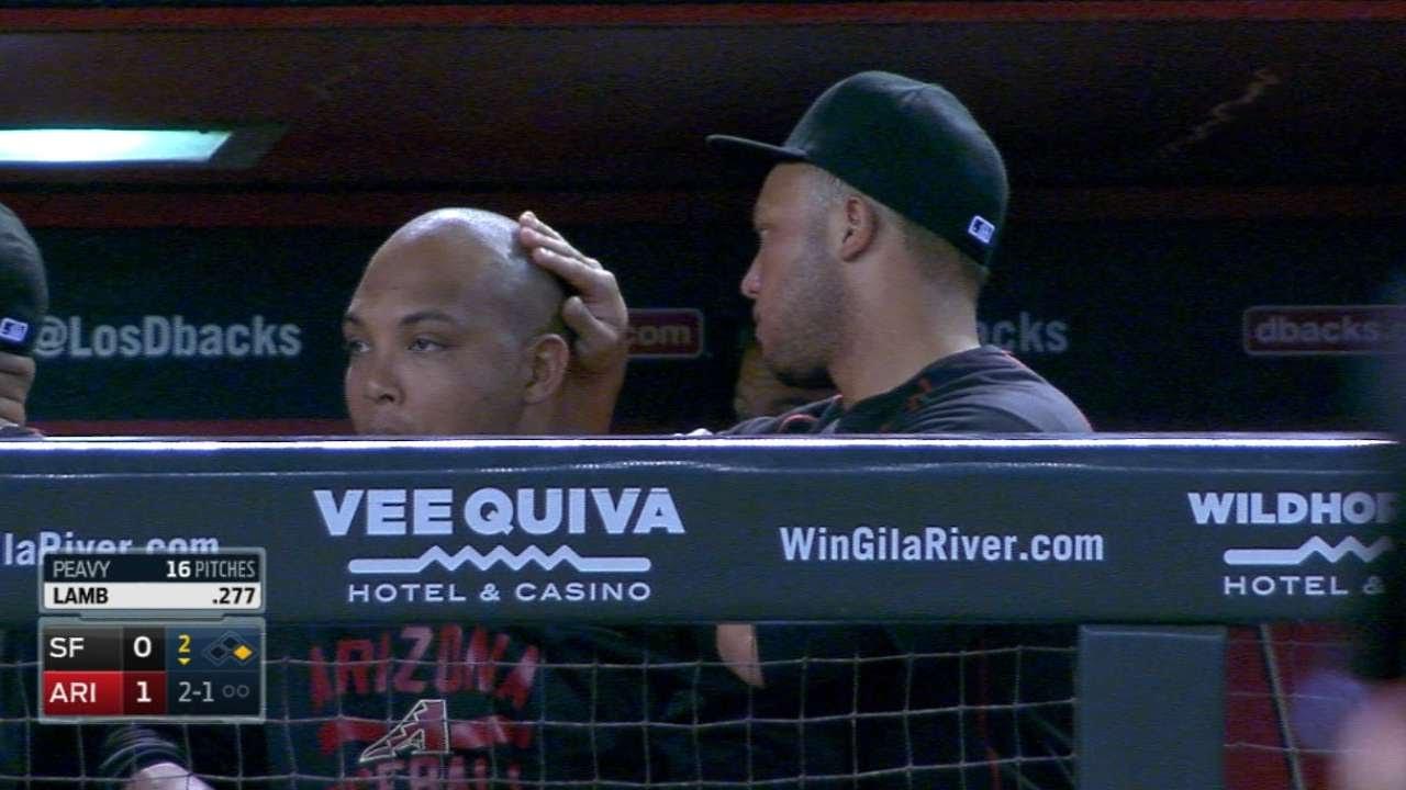 No Homo: Welington Castillo of the D-Backs gives Yasmany Tomas a head massage