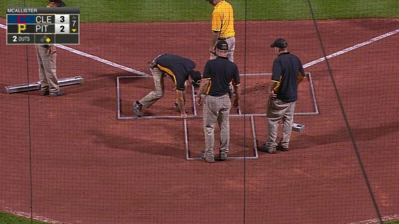Pittsburgh groundscrew forgets to paint batters' boxes