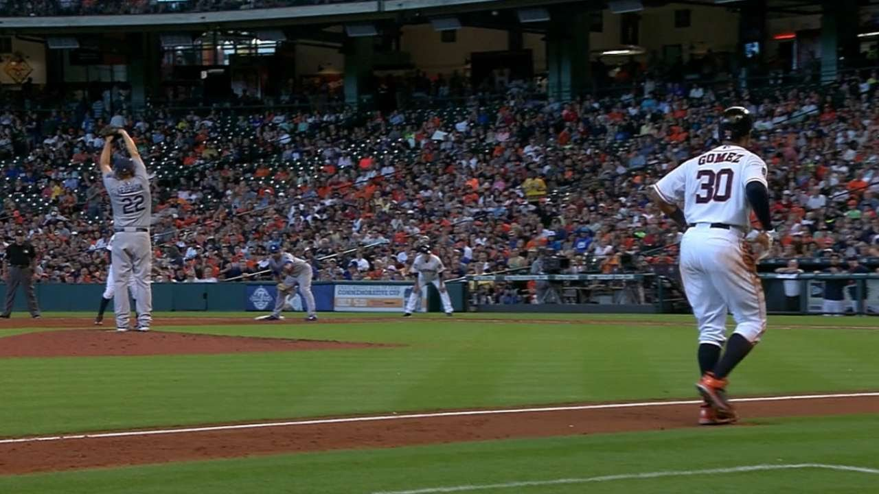 Carlos Gomez tries to steal home but gets thrown out by Kershaw