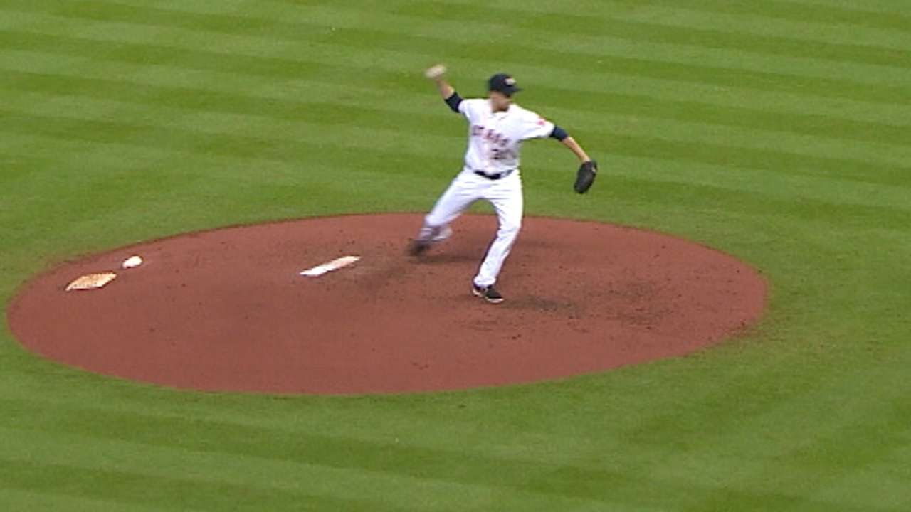 Colin McHugh trips on the mound during windup but still manages to record the out