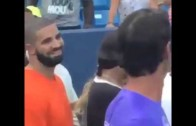 Drake & Serena Williams smile at each other during match