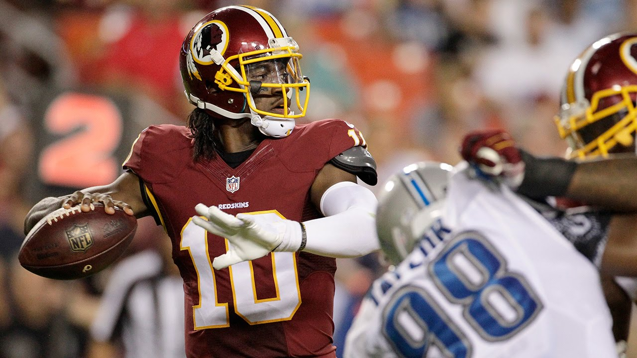 Robert Griffin III gets popped by DeAndre Levy (suffers concussion)