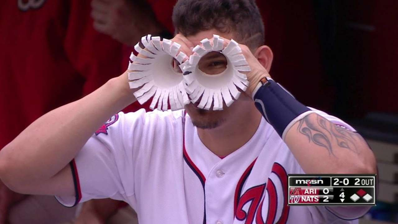 Nats catcher Jose Lobaton creates drinking cup goggles