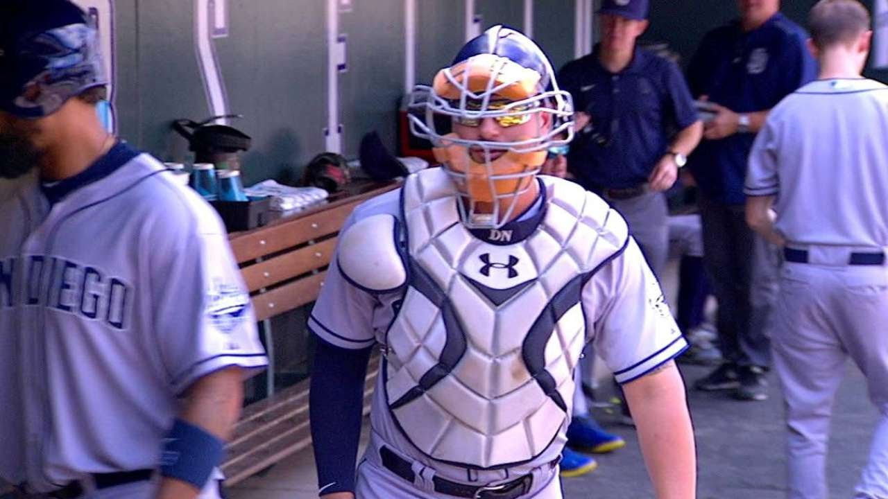 Prepared This Time: Yonder Alonso wears full catchers gear in the dugout
