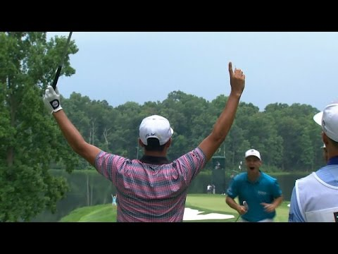 Rickie Fowler's walk-off ace on the par-3 9th hole at Quicken Loans