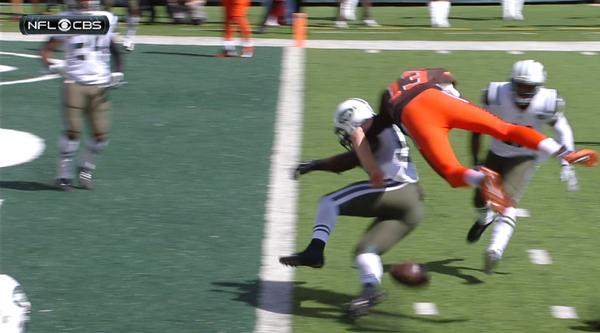 Browns QB Josh McCown gets blasted into a helicopter fumble