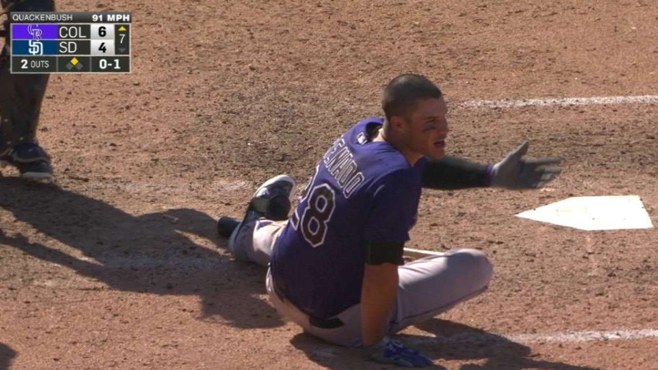 Bad Call? Nolan Arenado falls down from high heater & gets called for the strike