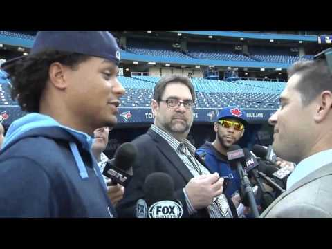Chris Archer sneaks into a scrum to interview David Price