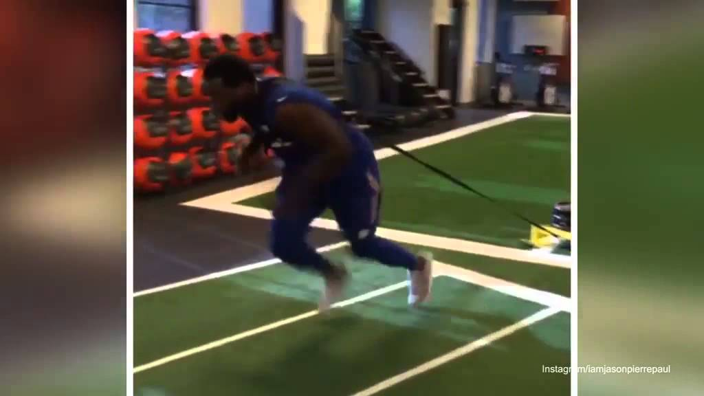 Jason Pierre Paul training after hand injury