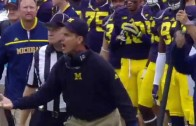 Jim Harbaugh with first sideline tantrum with Michigan