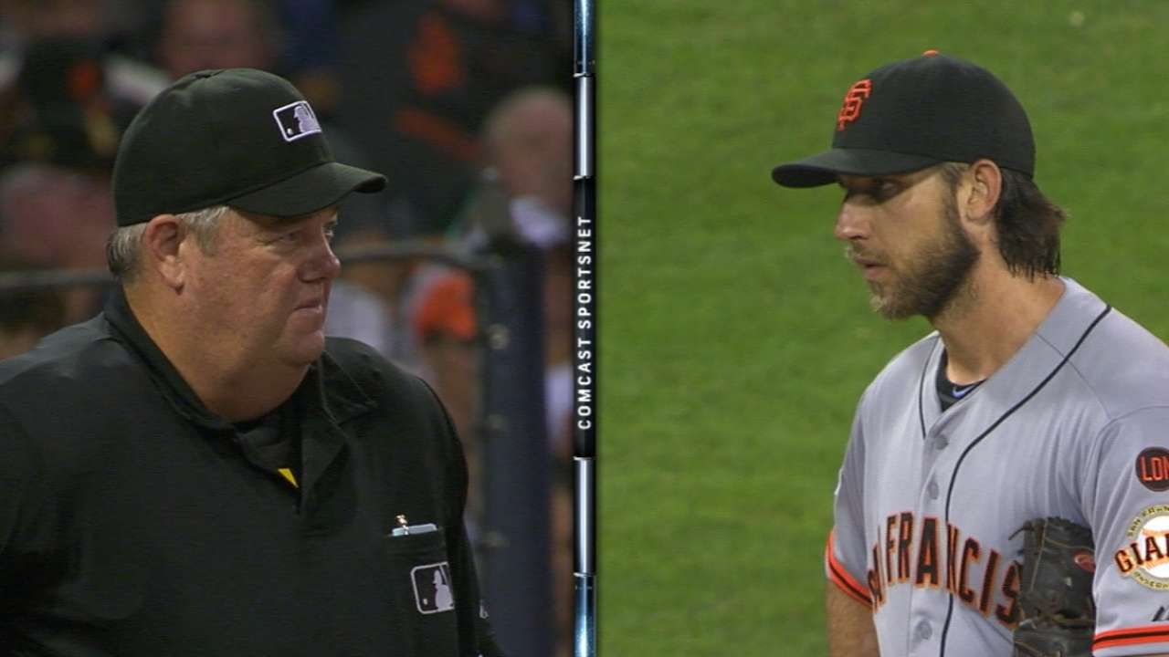 Madison Bumgarner & umpire Joe West have a epic stare-down