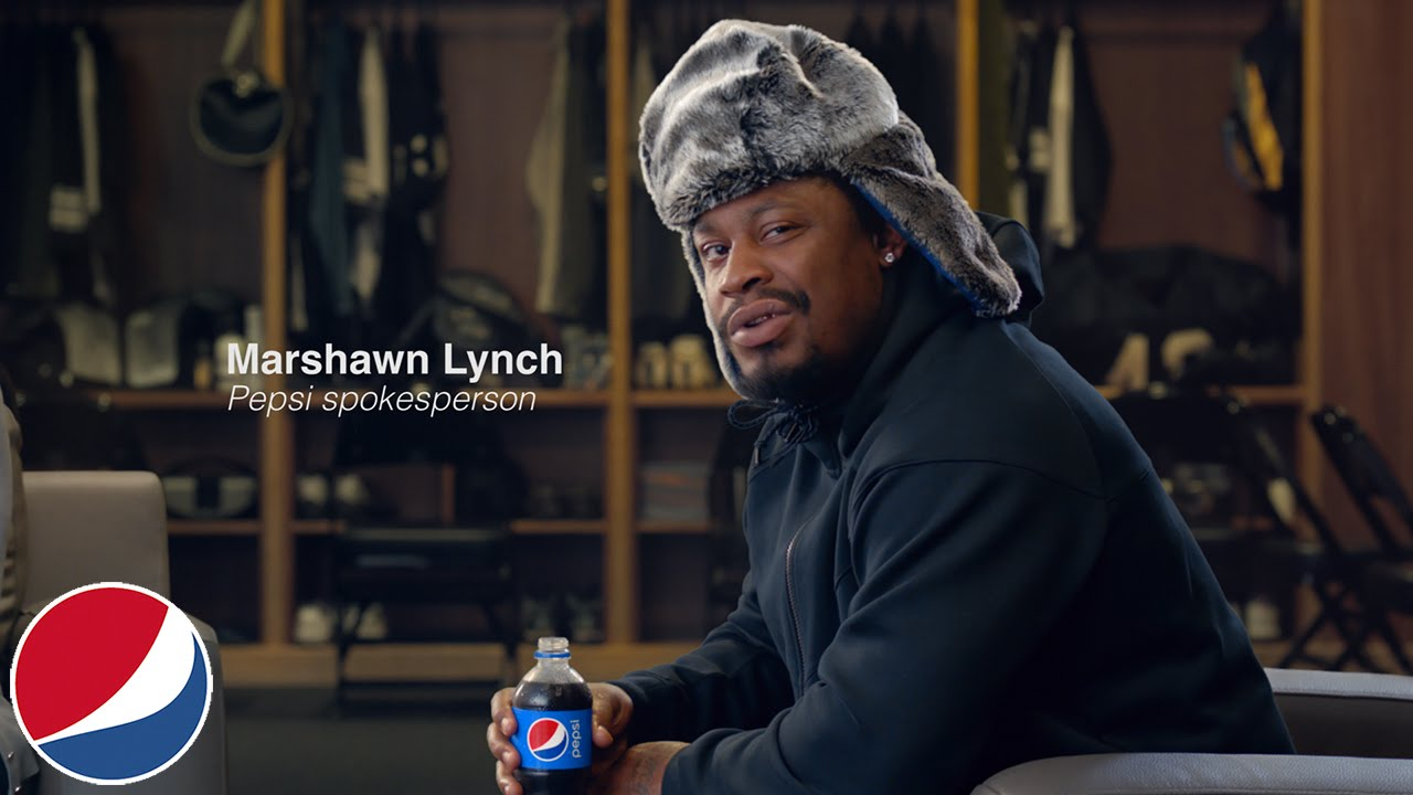 Marshawn Lynch does a Pepsi commercial without speaking