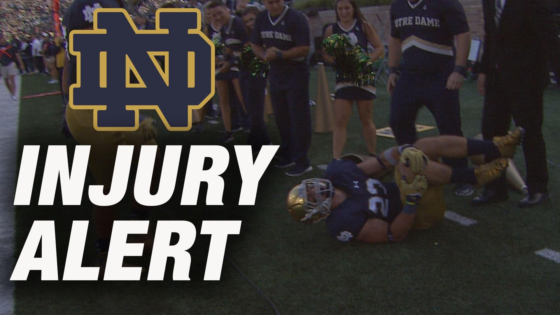 Notre Dame safety Drue Tranquill injures himself celebrating