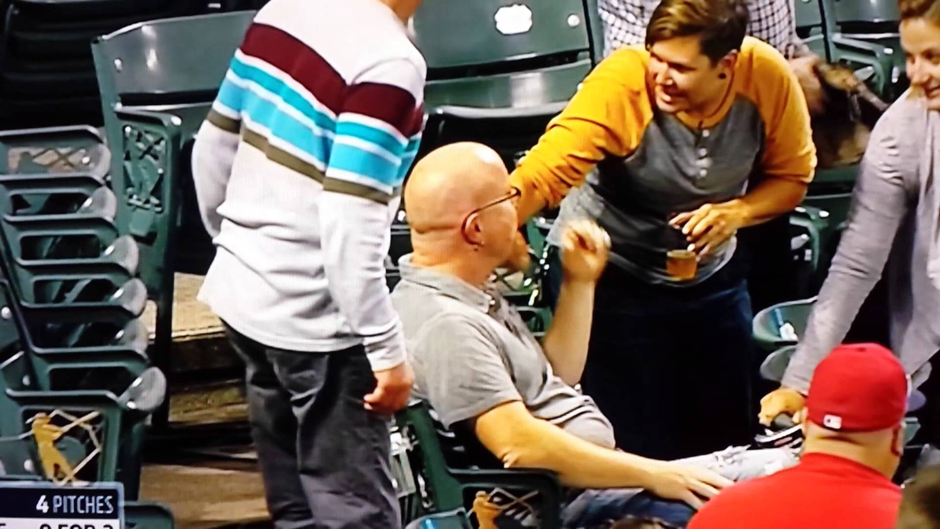 Ouch: Fan hit in head by a foul ball at Indians game
