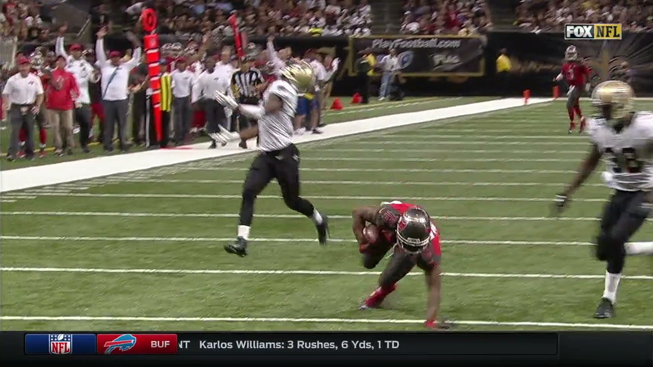 New Orleans Saints CB Delvin Breaux loses ball in the air