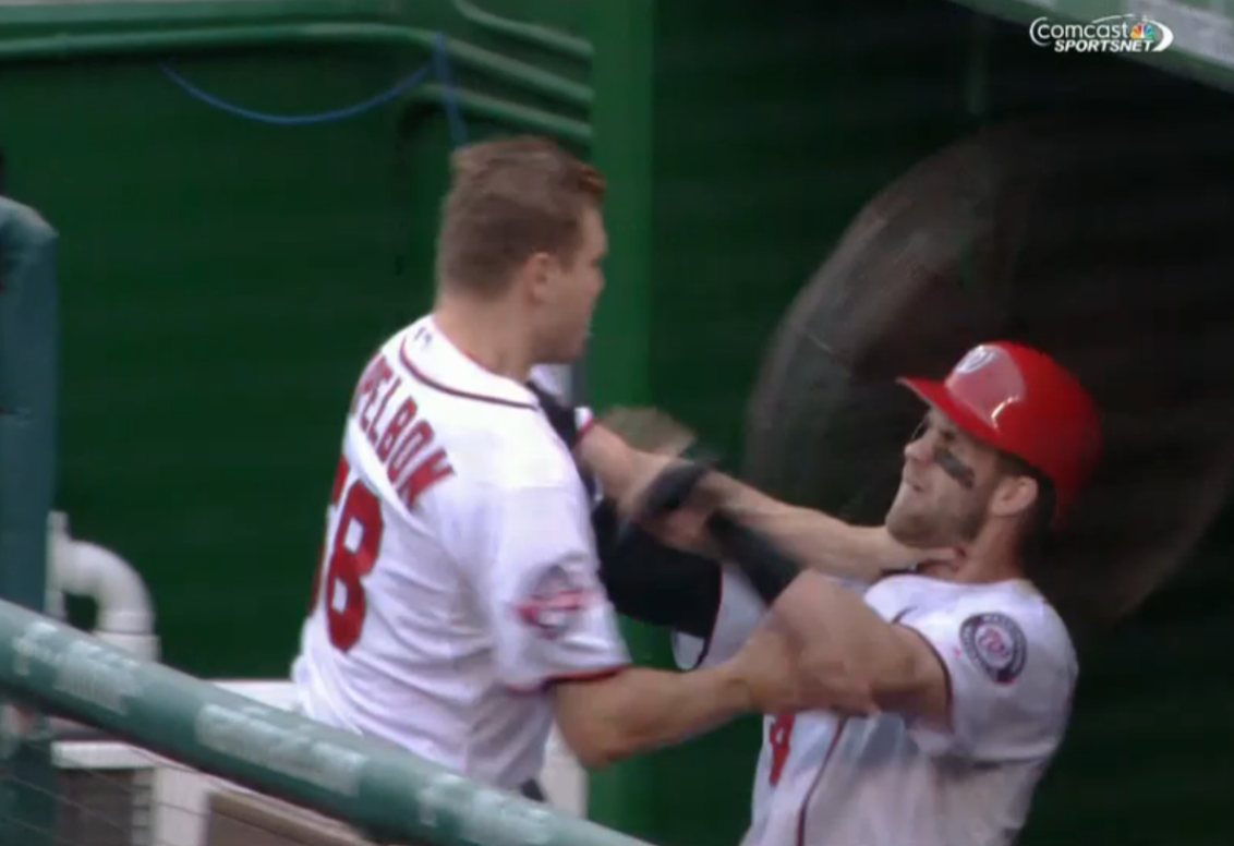 Bryce Harper & Jonathan Papelbon fight in the dugout!