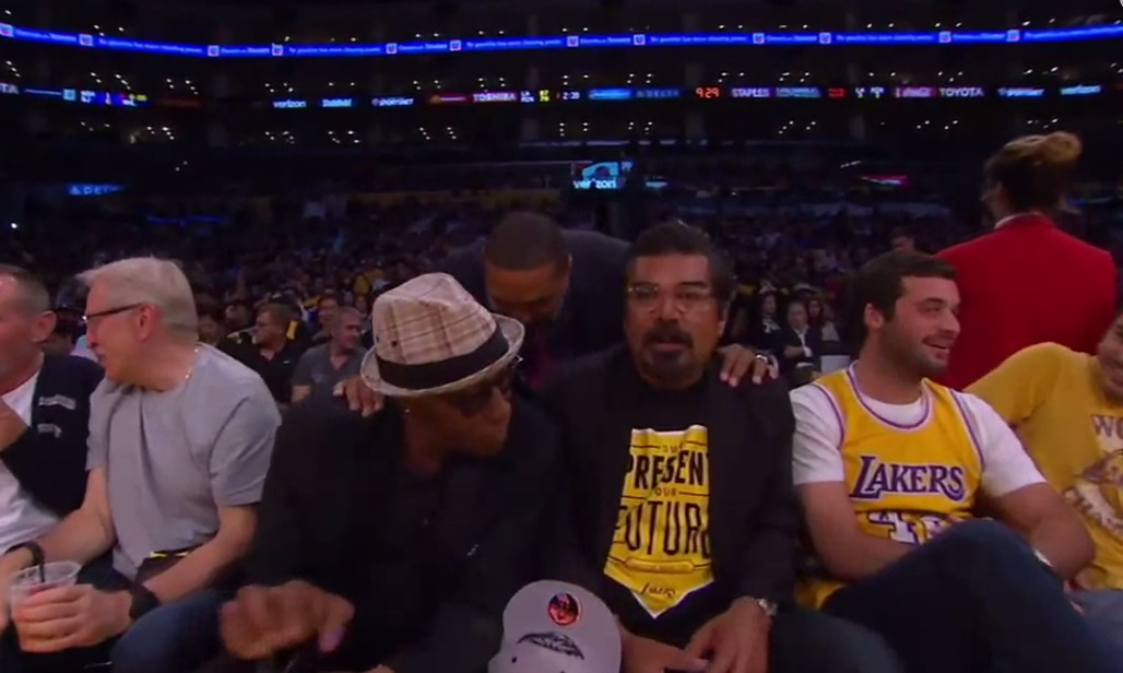 Lakers game postponed after George Lopez & Arsenio Hall spill drink