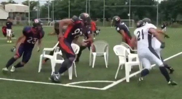 What happens when football players play musical chairs