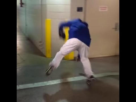 Bartolo Colon takes a spill on his way to the Mets clubhouse