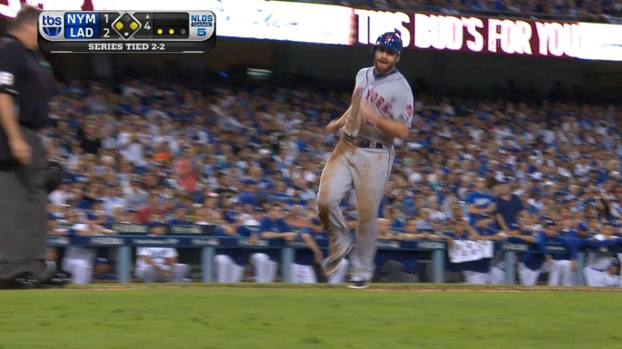 Daniel Murphy takes two bases on a walk