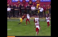 USC WR Juju Smith stiff-arm silences trash talking Utah CB