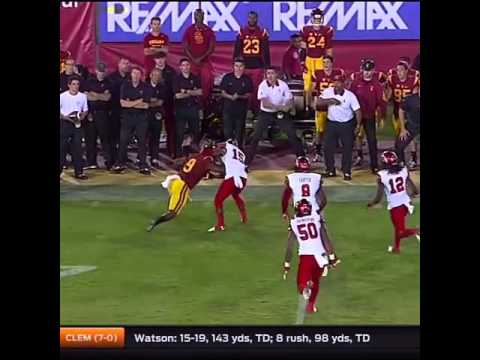 USC WR Juju Smith stiff-arm silences trash talking Utah CB