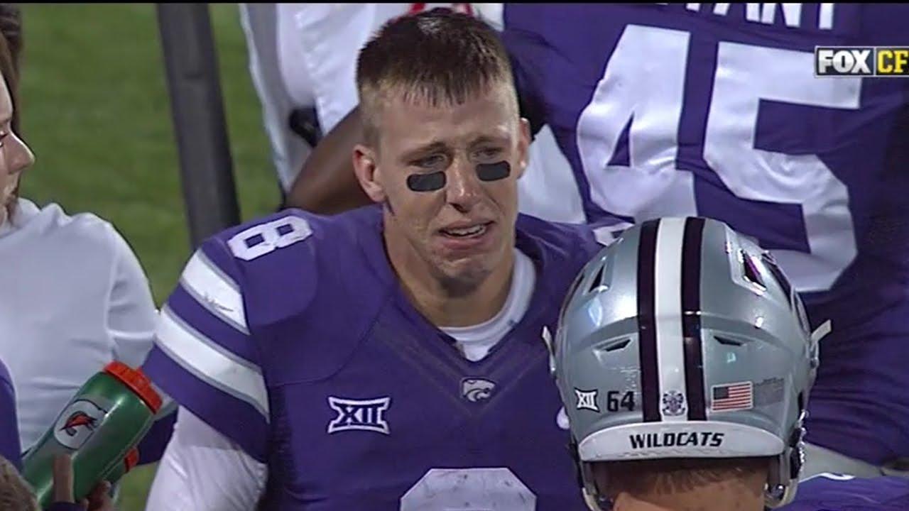 Kansas State quarterback Joe Hubener cries after costly fumble